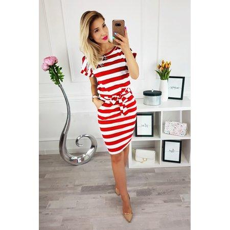 Summer Casual Women Dresses O-neck Short Sleeve Striped Collect Waist Slim Fit Waist Belt Knee-Length Package Hip Pencil Dress
