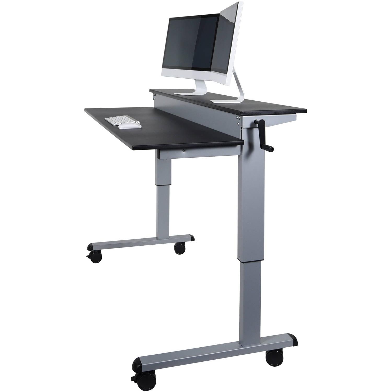 Luxor 2Tier 48 Crank Adjustable Standing Desk SilverBlack