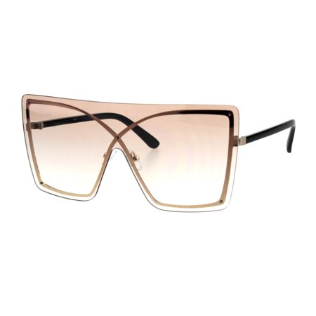 Womens Shield Butterfly Exposed Edge Celebrity Sunglasses Beige (Cheap Celebrity Sunglasses)