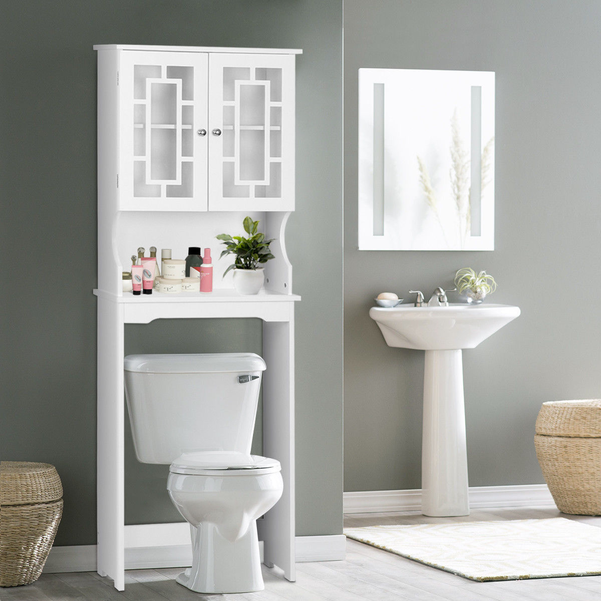 Costway Bathroom Spacesaver Over the Toilet Door Storage Cabinet Tower Organizer White