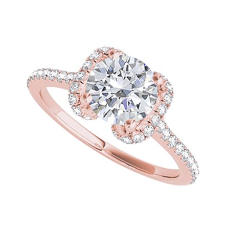 a4c054e445559 Amazing Unique Design CZ Engagement Ring Rose Gold