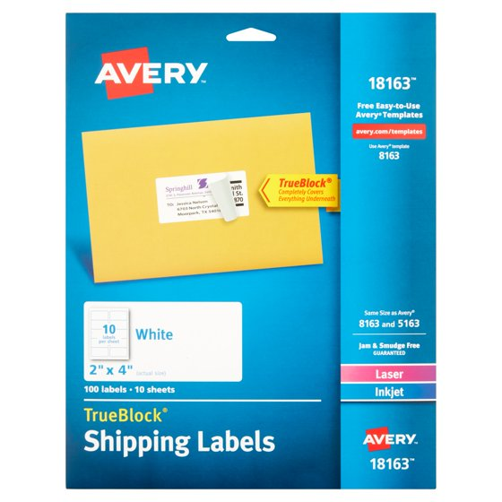 Avery White Shipping Labels With Trueblock Technology 18163 2 X 4