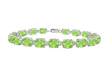 Sterling Silver Prong Set Oval Peridot Bracelet with 15.00 CT TGW by Love Bright