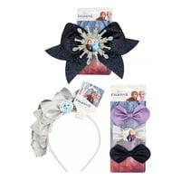 ($21 Value) Disney Frozen 2 Glitter Hair Accessory 5 Piece Gift Set with Jumbo Hair Bow, Elsa Crown Headband, and Salon Bow Hair Clips