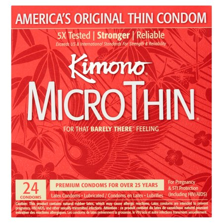 Kimono Micro Thin Lubricated Latex Condoms - 24 ct