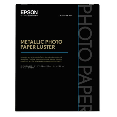 17x22 20 Sheets (Epson Professional Media Metallic Photo Paper Glossy, White, 17 x 22, 25 Sheets/Pack -EPSS045591)
