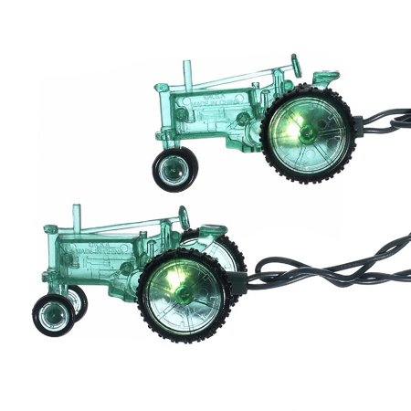 Set of 10 Country Heritage Green Farm Tractor Christmas Lights - 9 ft Green