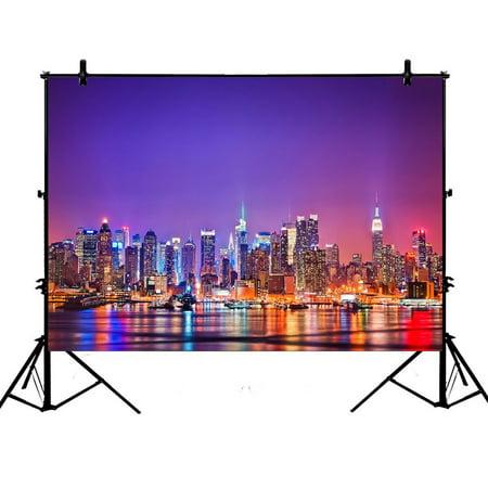 ZKGK 7x5ft New York City Skyline Polyester Photography Backdrop For Studio Prop Photo Background