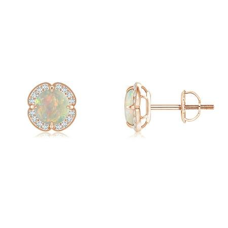 9ddbb87c96c Women s Day Sale - Claw-Set Opal Clover Stud Earrings in 14K Rose Gold (