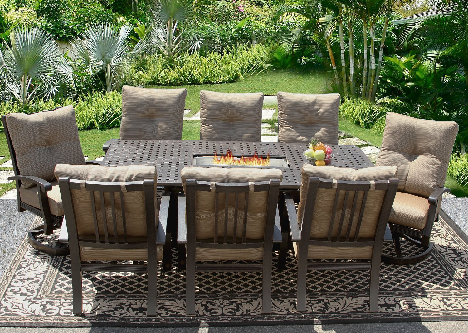 42x84 rectangle outdoor patio 9pc dining set seats 8 with