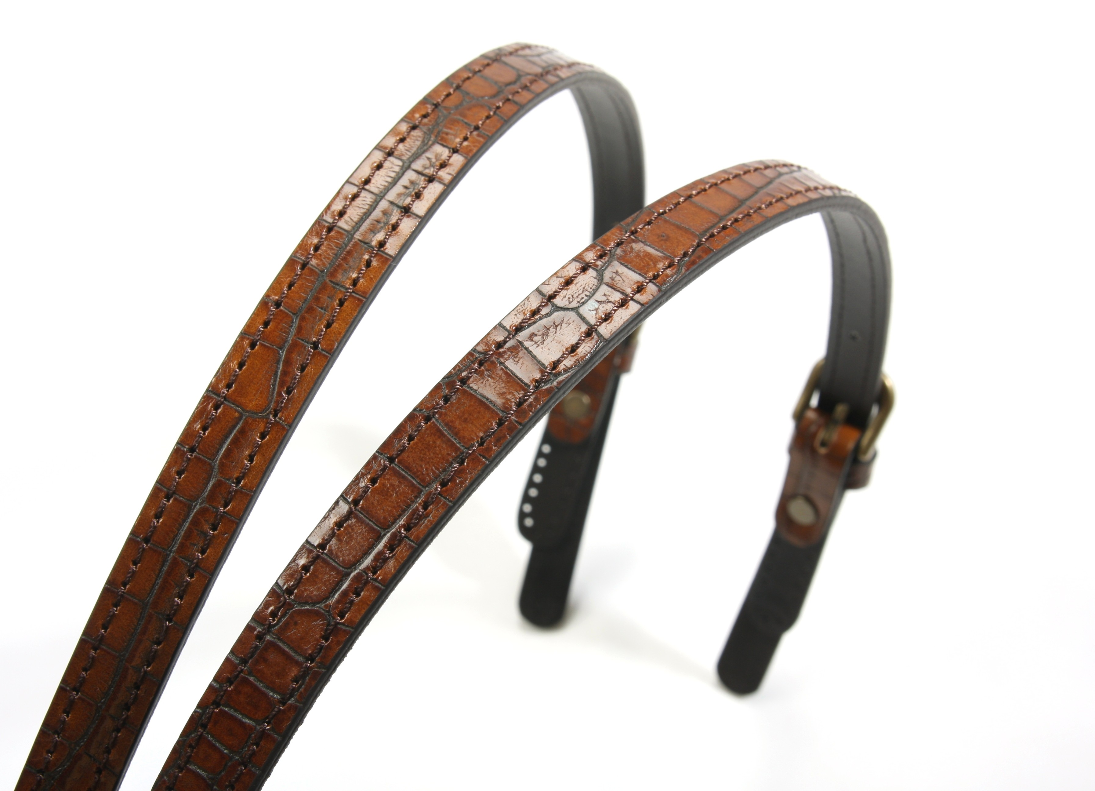 Brown 28 Bag Strap with Crocodile Pattern 30-5505 byhands Genuine Leather Purse Handles