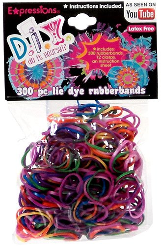 D.I.Y. 300-piece Tie Dye Latex-free Rubber Band Bracelet Loom Refill Pack, 300 Bands with Clips. By... by