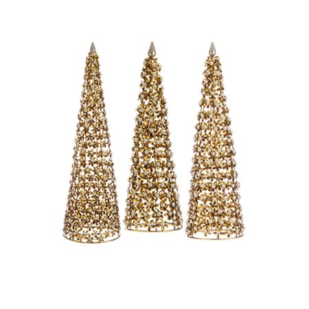 Set Of 3 Glamour Time Antique Style Gold Flower And Pearl Cone Tree Table Top Decorations 20