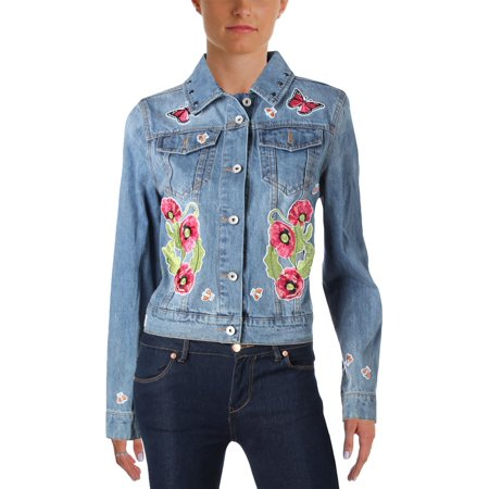 Bagatelle Womens Embroidered Embellished Denim Jacket