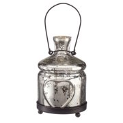 Amber Home Products Champagne Small Glass Antique Silver Bottle Votive, Small