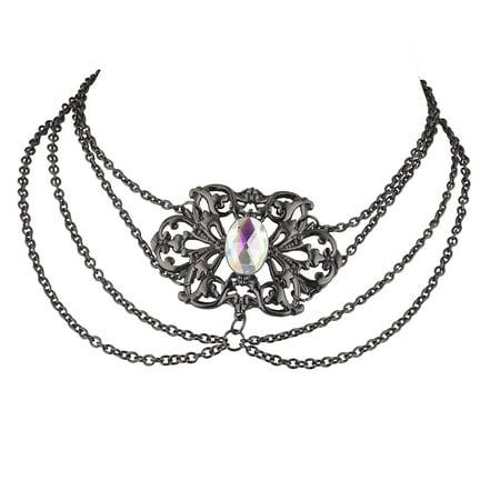 Lux Accessories Hematite Tone Vintage Princess Victorian Casted Draped - Princess Choker