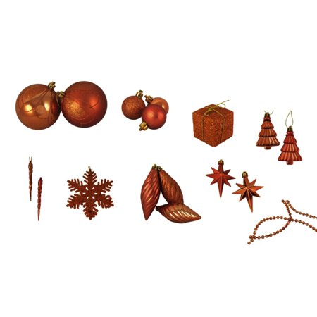 125ct Burnt Orange Shatterproof 4-Finish Christmas Ornaments - image 1 of 2