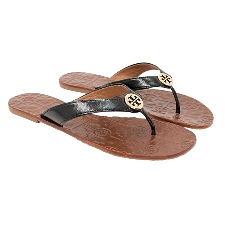 Tory Burch Thora Flip Flops Saffiano Leather Thong Sandals (8, Black Patent)