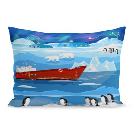 ECCOT Travel to Antarctic and Arctic Ice Breaker Penguins Polar Pillowcase Pillow Cover Cushion Case 20x30 inch (Arctic Polar Ice)
