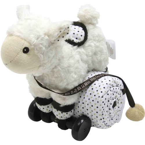 Piccolo Bambino Pull Toy with Quilted Blanket, White Sheep