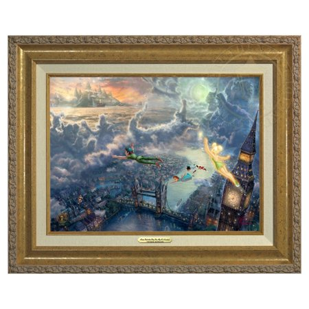 Thomas Kinkade Tinker Bell and Peter Pan Fly to Neverland - Canvas Classic (Gold Frame) (Tinkerbell And Peter Pan)