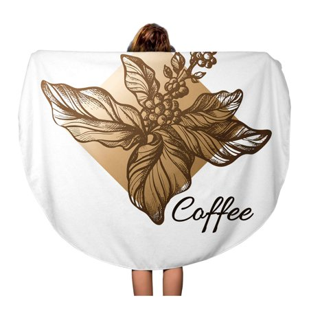 Natural Coffee Tree - KDAGR 60 inch Round Beach Towel Blanket Coffee Tree Branch Realistic Leaves and Natural Beans Travel Circle Circular Towels Mat Tapestry Beach Throw