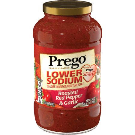 (2 Pack) Prego Lower Sodium Roasted Red Pepper & Garlic Italian Sauce, 24