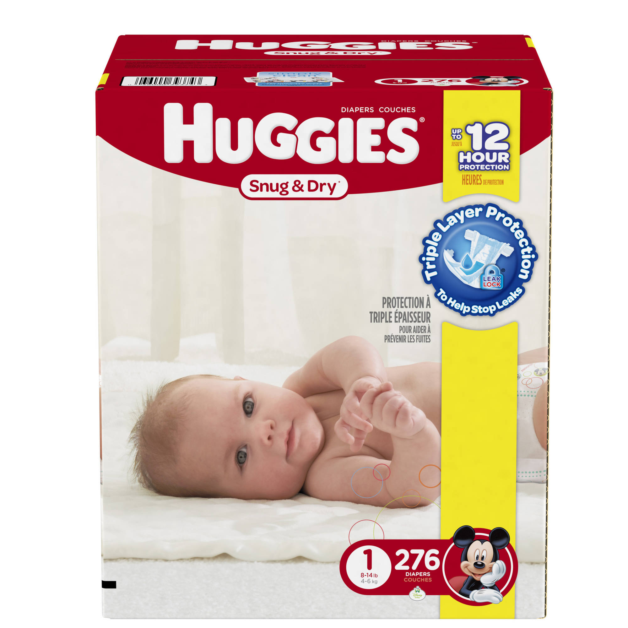 HUGGIES Snug & Dry Diapers, Size 1, 276 Diapers