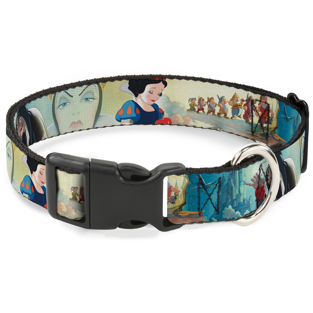 """Plastic Clip Collar - Snow White Dwarves Old Witch Evil Queen Scenes - Pet Collar 1.0"""" Large"""