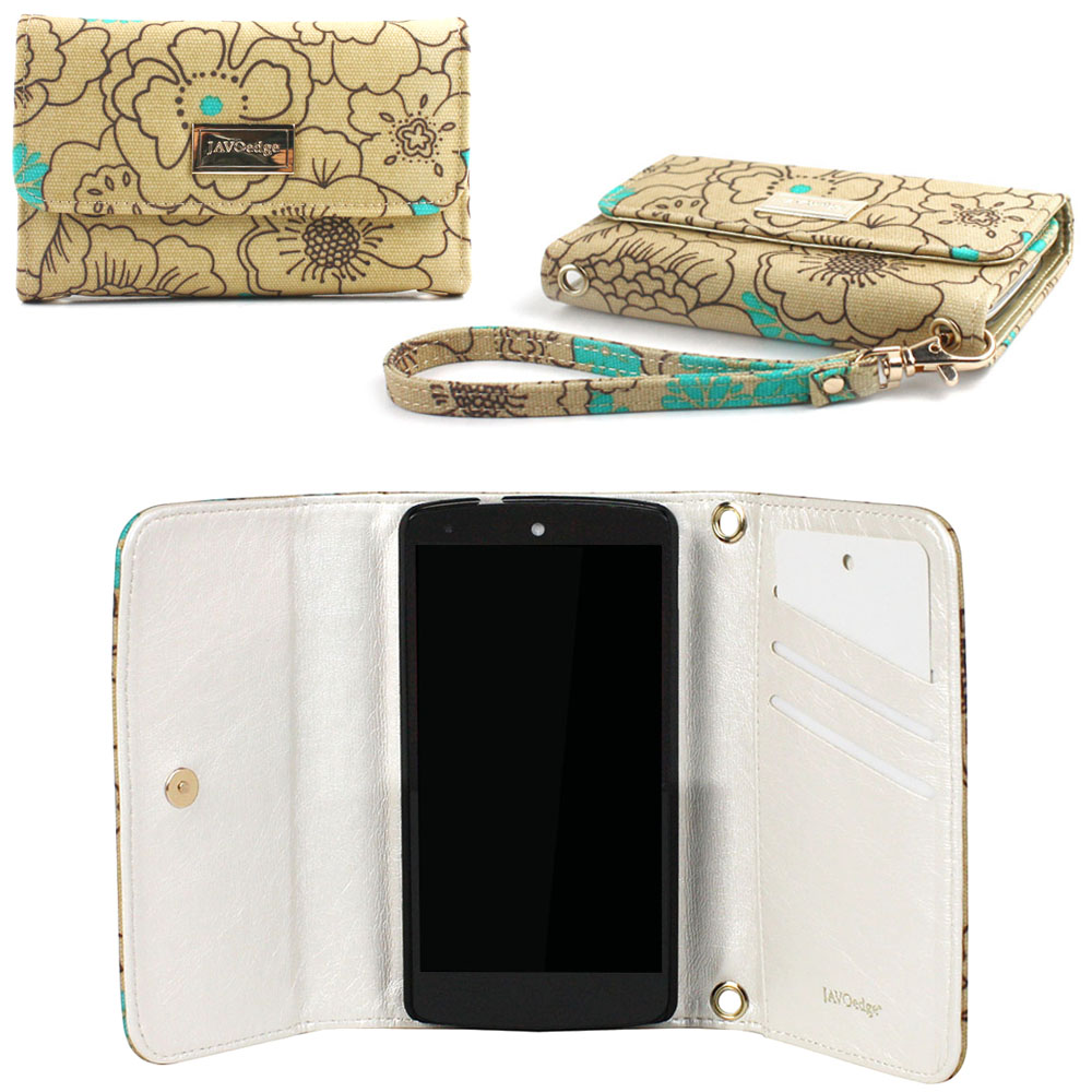 JAVOedge Poppy Wallet Case with Wristlet for the Google Nexus 5 (Turquoise)