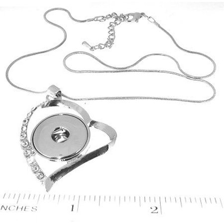 Necklaces   Silver italian Necklace - Snap Charm Heart - Snap It Jewelry