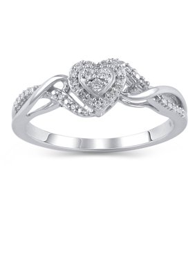 1/10 Carat T.W. Diamond Sterling Silver Engagement Ring