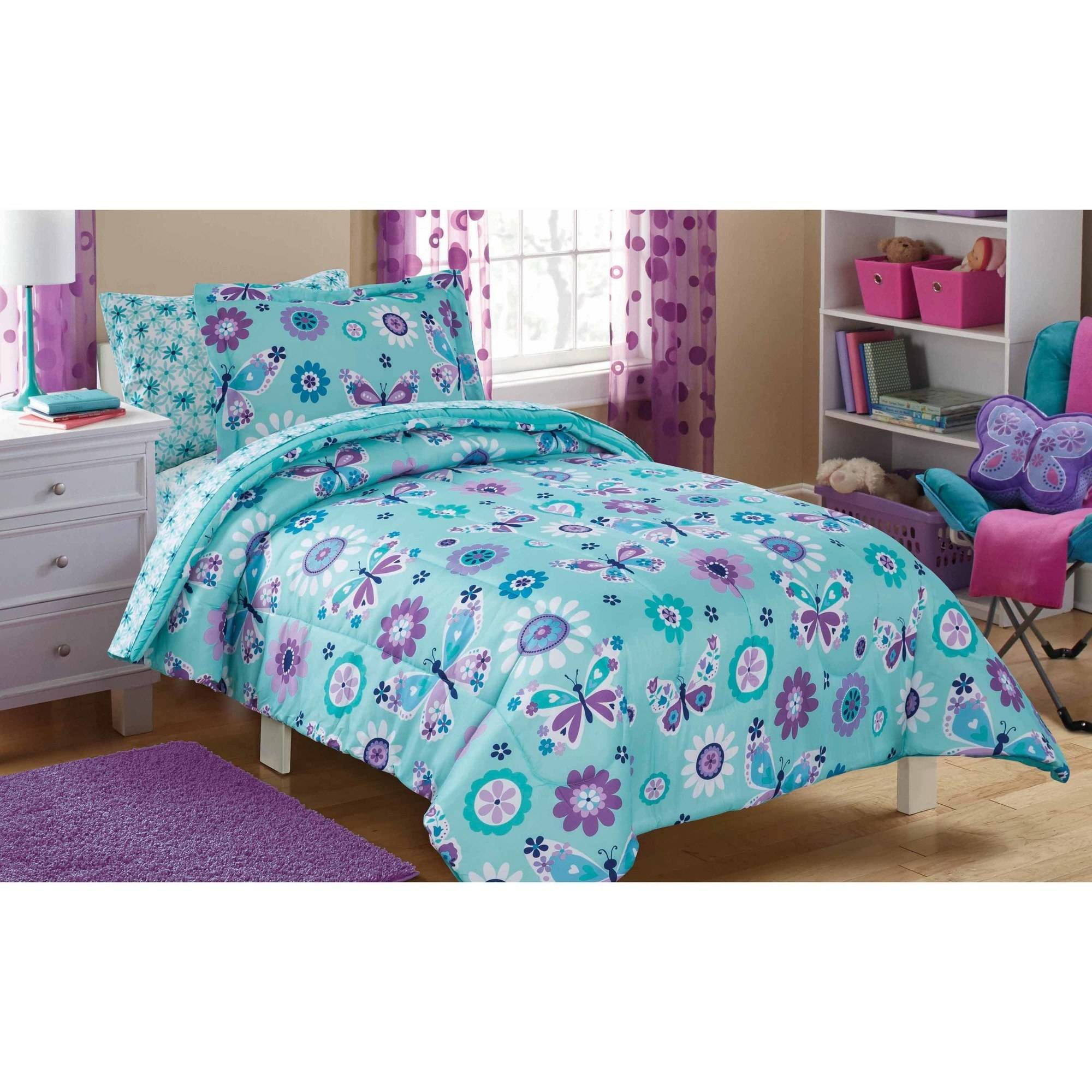 Mainstays Kids Butterfly Floral Bed In A Bag Bedding Set Walmart Com