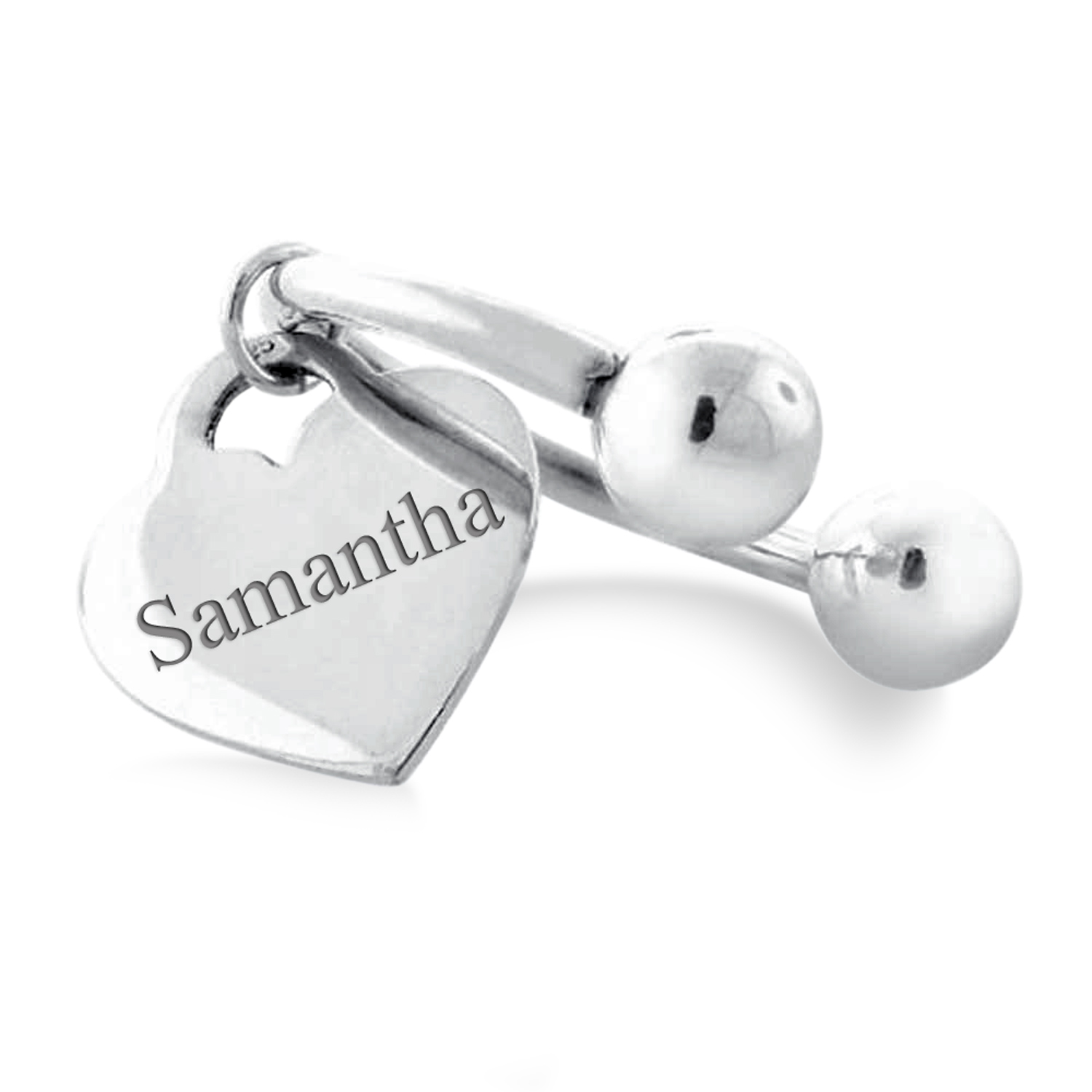 Sterling Silver Polished Heart Engravable Key Ring