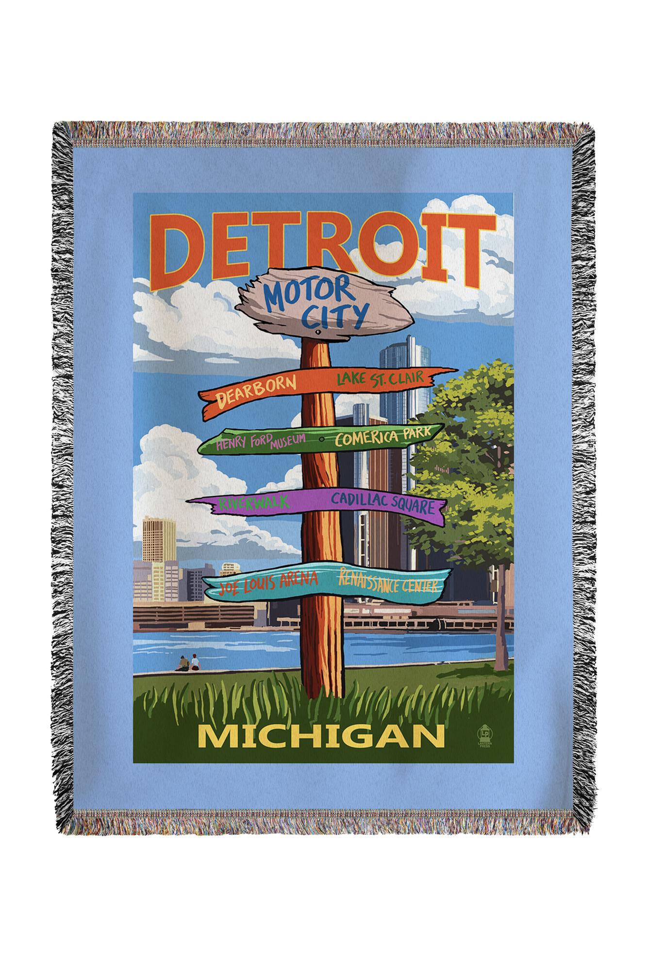 Detroit, Michigan Sign Post Lantern Press Artwork (60x80 Woven Chenille Yarn Blanket) by Lantern Press