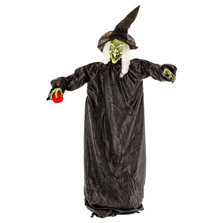 Halloween Haunters Standing Green Witch with Flashing LED Red Eyes & Sound - Prop Decoration
