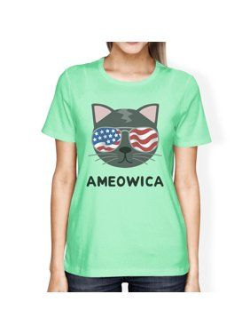 07e0338c4728f Ameowica Womens Mint Graphic Cotton T-Shirt Cute Cat Lover Tee
