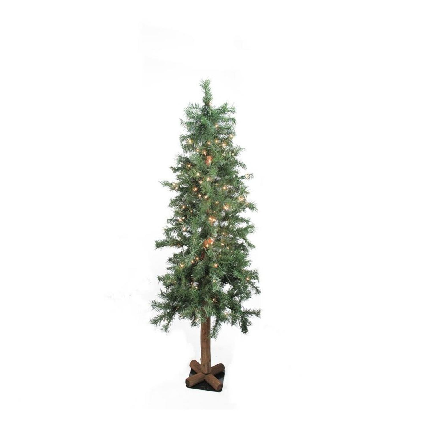 6' Pre-Lit Woodland Alpine Artificial Christmas Tree - Clear Lights