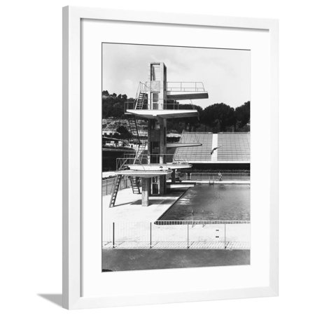 Olympic Diving Board - Diving Board of an Olympic Sized Swimming Pool in a Sporting Facility Framed Print Wall Art By A. Villani