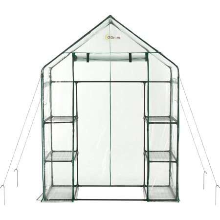 Ogrow Deluxe Mini Walk-In 3-Tier 6-Shelf Portable (Village Green Deluxe Walk In Greenhouse Instructions)