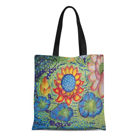 LADDKE Canvas Tote Bag Blue Ceramic Lotus Statue Brown Mosaic Abstract Architecture Artistic Reusable Shoulder Grocery Shopping Bags - Brown Mosaic