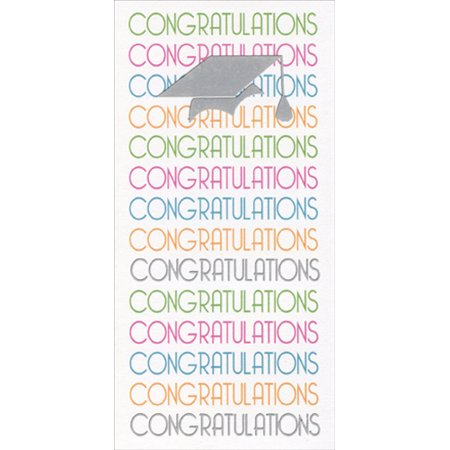 Freedom Greetings Congrats Repeated with Silver Foil Cap Graduation Money Holder - Tiny Graduation Cap
