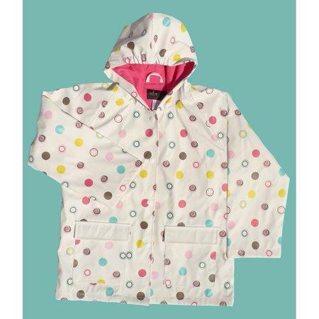 Girls White Polka Dots Rain Coat 8 (Classic Rainsuit)