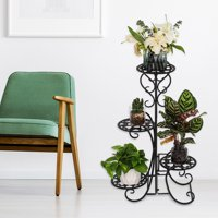 Ktaxon 4 Tier Metal Flower/Plant Stand 4 Potted Rounded Flower Planter Garden Display Holder Home & Garden,Black