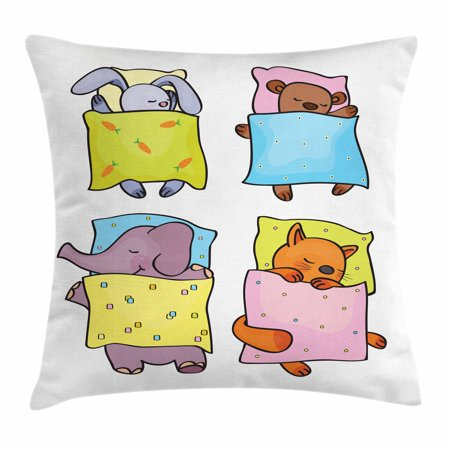 Halloween Themed Sleepover Ideas (Baby Throw Pillow Cushion Cover, Sleepy Animal Siblings Friendship Sleepover Theme Cute Kitten Cub Rabbit and Calf, Decorative Square Accent Pillow Case, 16 X 16 Inches, Multicolor, by)