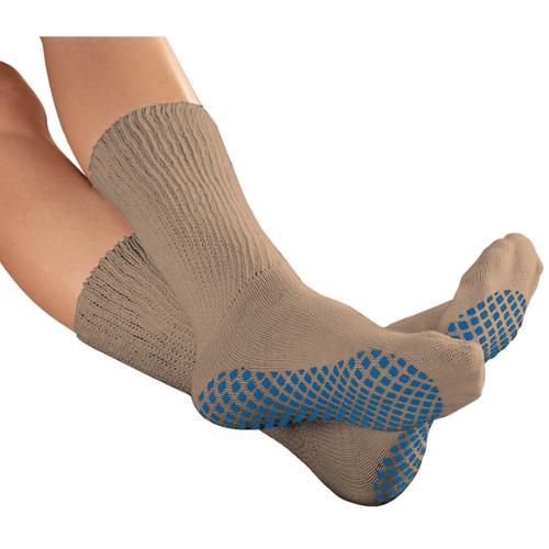 EasyComforts  Tan Diabetic Slipper Socks with Gripper Soles