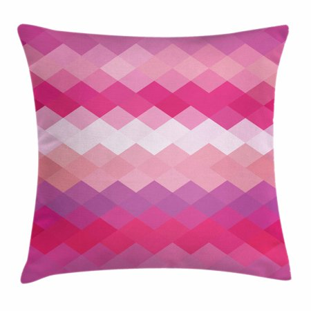 Hot Pink Throw Pillow Cushion Cover, Classical Simple Modern Design with Vibrant Colored Diamond Line Pattern, Decorative Square Accent Pillow Case, 16 X 16 Inches, Pink Peach Fuchsia, by Ambesonne ()