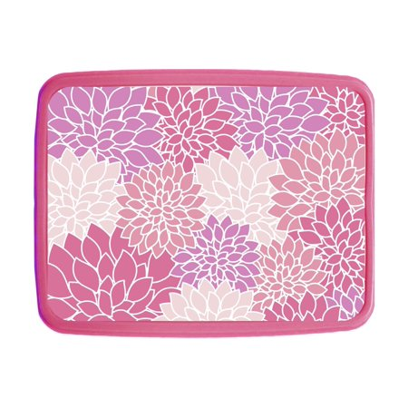 "Flower Blossoms - Girls 7"" x 9"" x 1.65"" Pink Plastic Kids Lunch Box with Compartments"