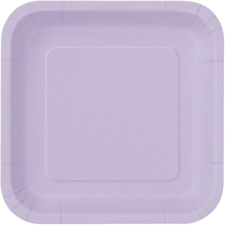 Square Paper Plates, 7 in, Lavender, 16ct