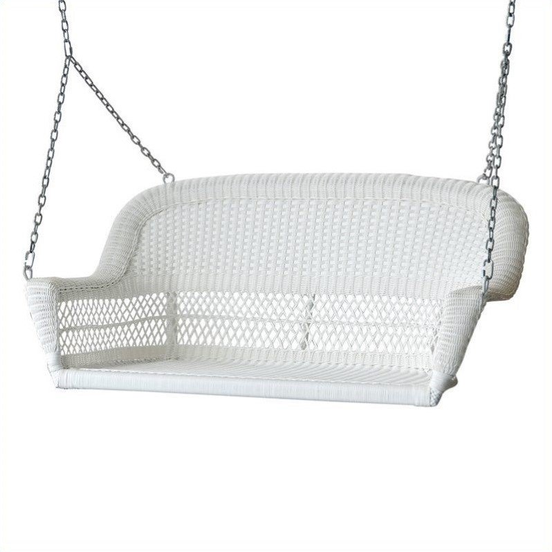Jeco Resin Wicker Porch Swing in White by Jeco Inc.